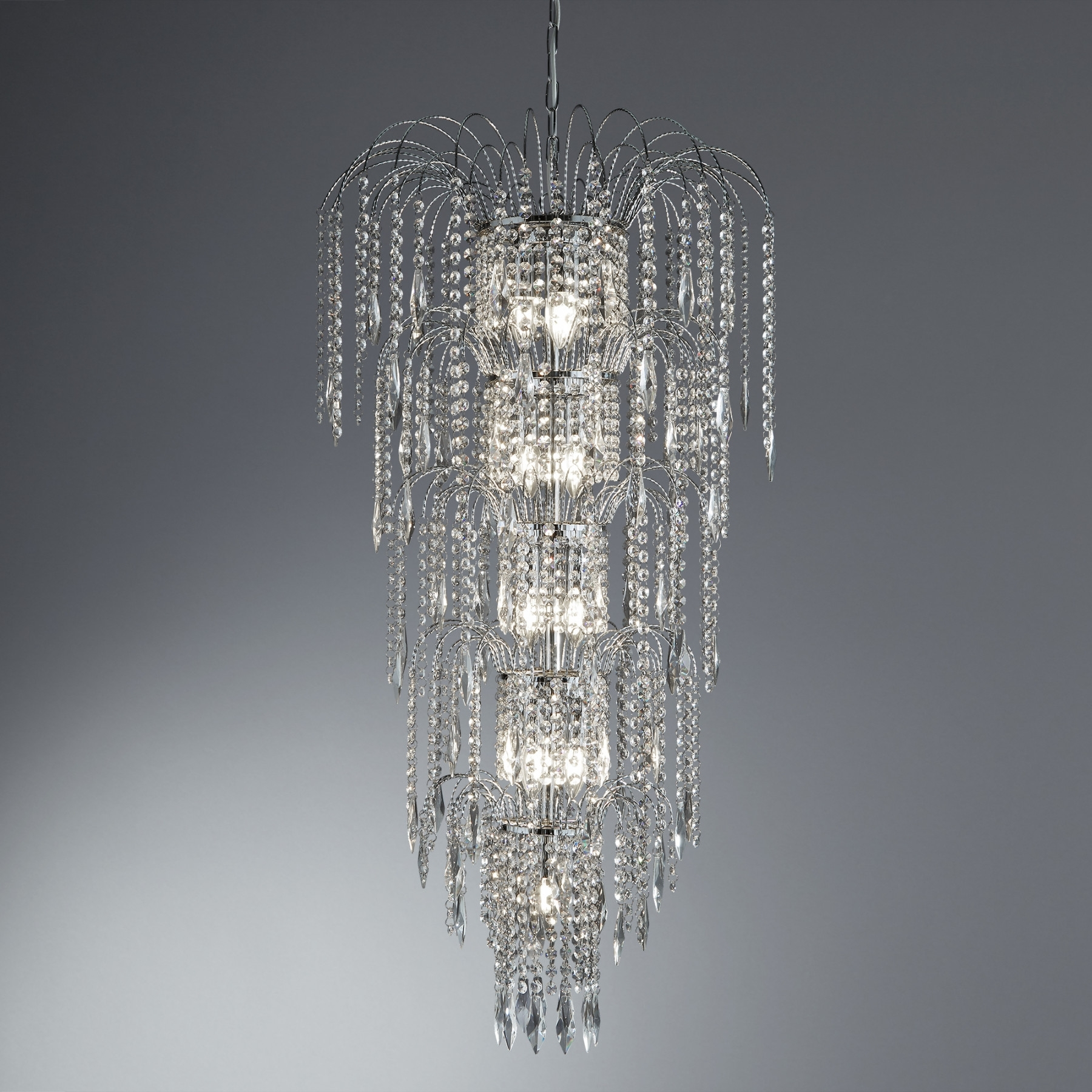 Trendy Waterfall Crystal Chandelier Throughout Crystal Cascading Waterfall Chandelier Tags : 62 Like Samples Design (View 19 of 20)