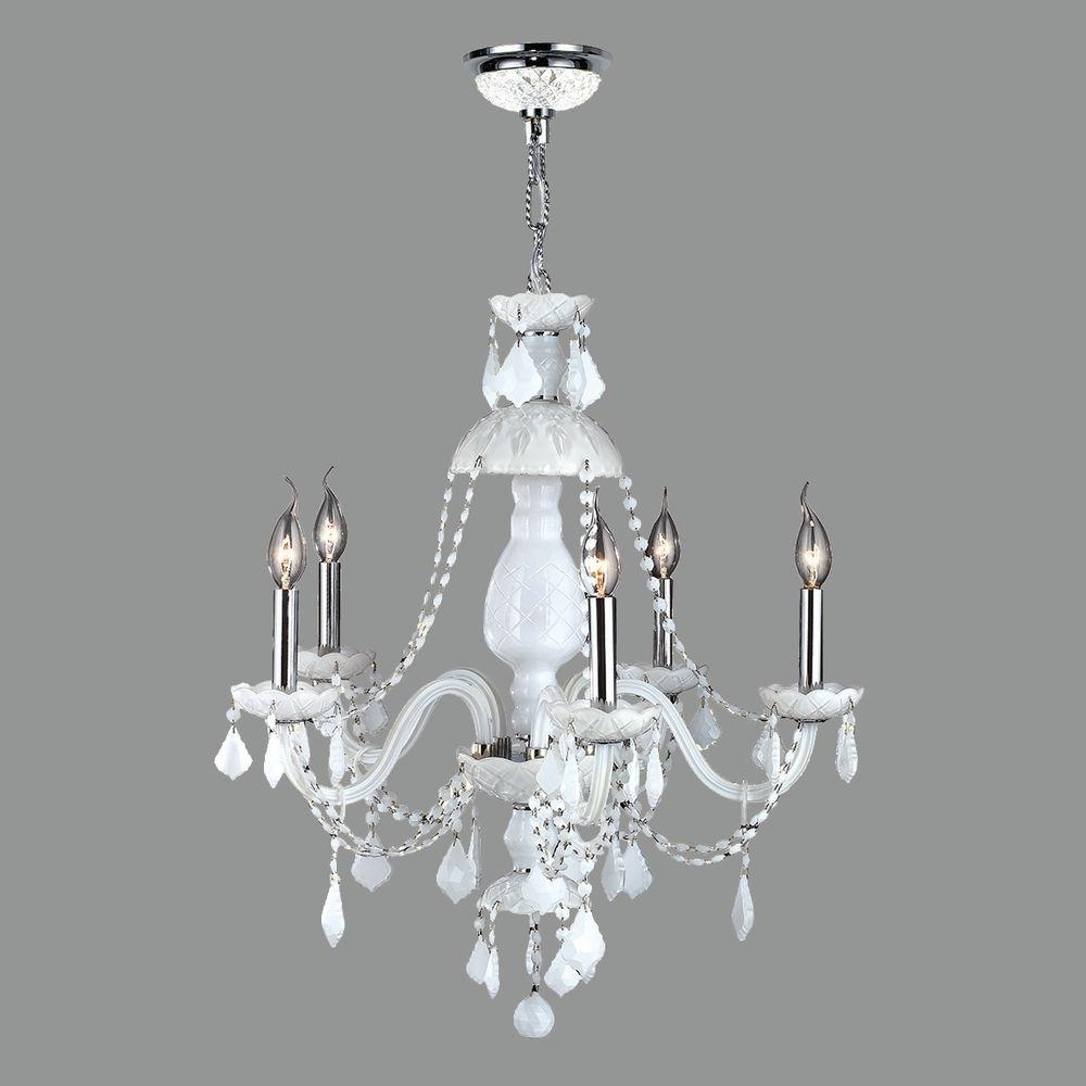 Trendy White And Crystal Chandeliers Inside Worldwide Lighting Provence Collection 5 Light Polished Chrome And (View 13 of 20)
