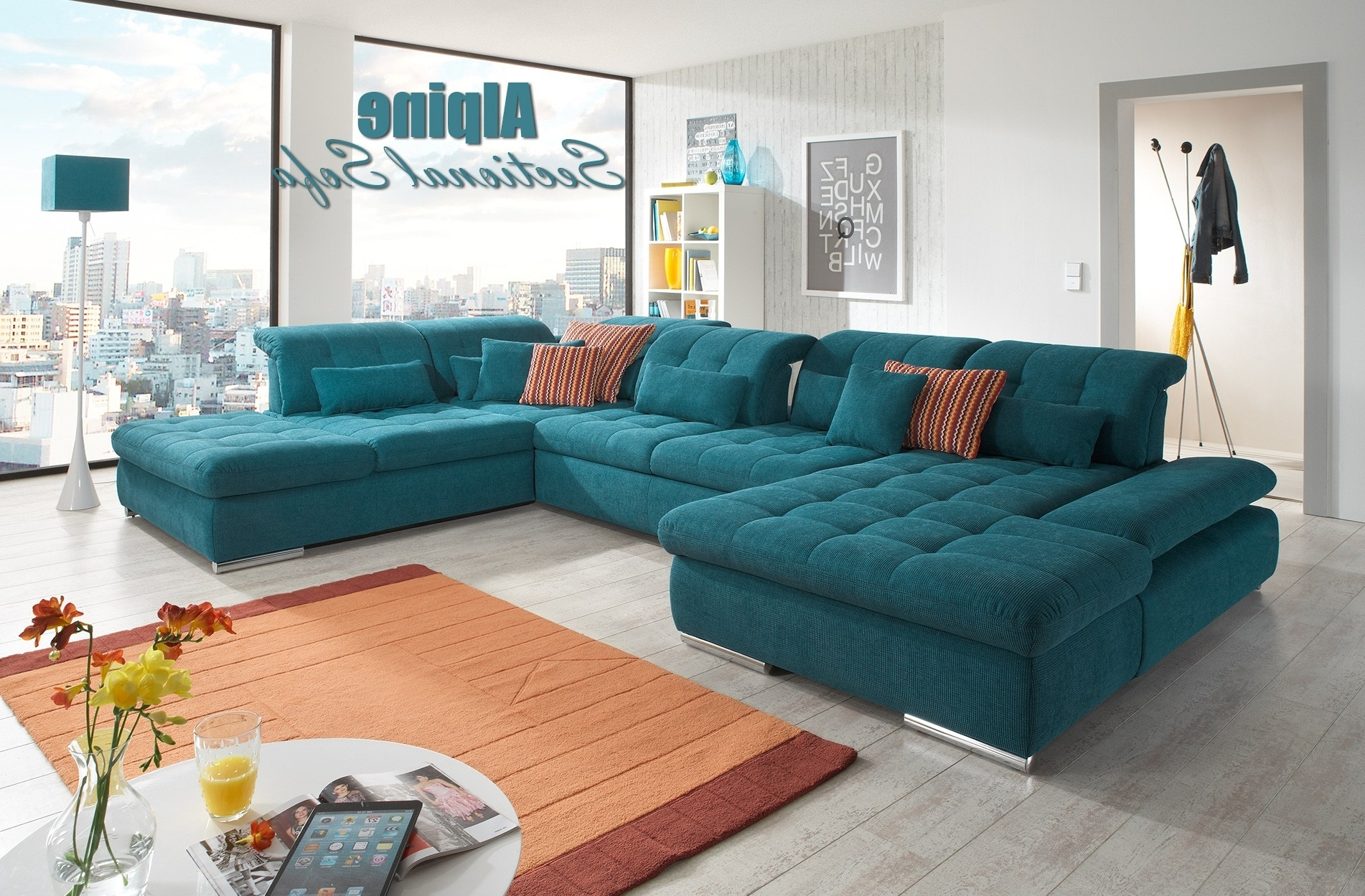 Trinidad And Tobago Sectional Sofas For Trendy Alpine Sectional Sofa In Green Fabric (View 11 of 20)