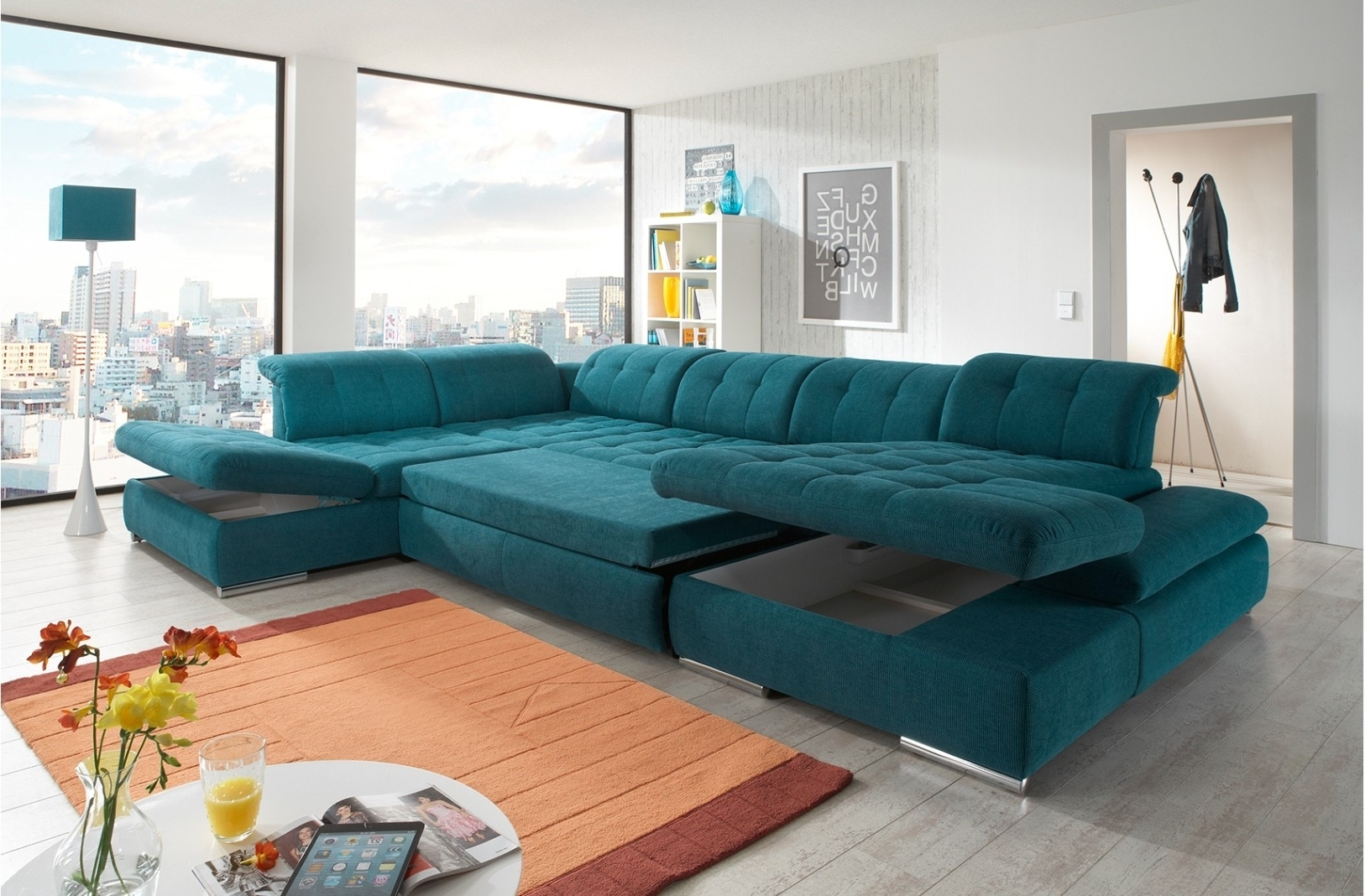 Trinidad And Tobago Sectional Sofas With Most Up To Date Alpine Sectional Sofa In Green Fabric (View 10 of 20)