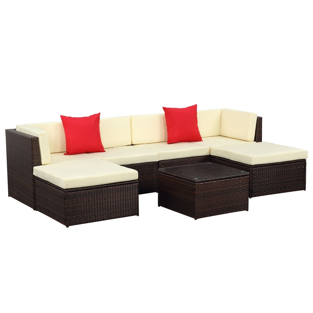 Trinidad And Tobago Sectional Sofas With Regard To Widely Used Brown Ikayaa 7pcs Outdoor Patio Garden Rattan Wicker Sectional (View 19 of 20)