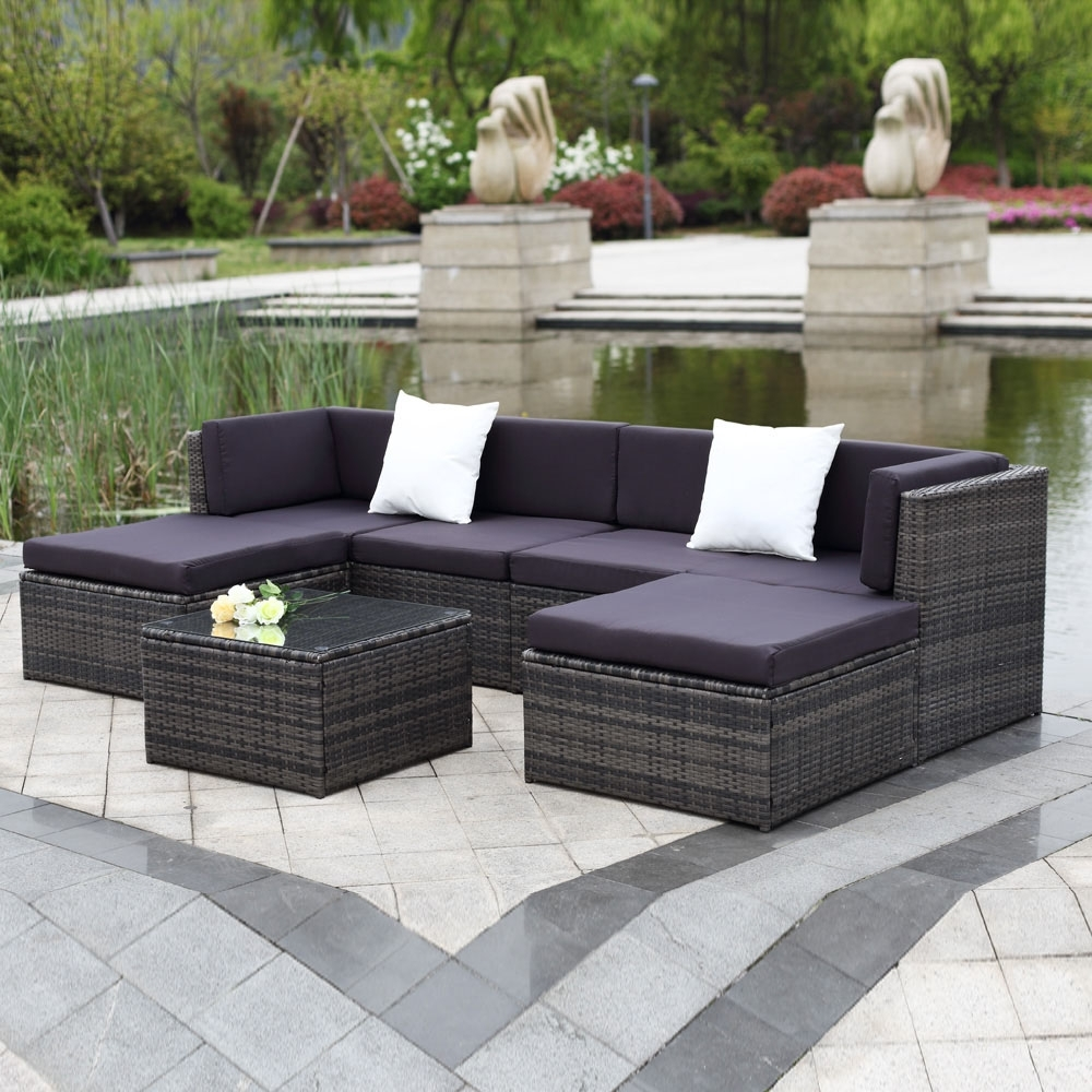 Trinidad And Tobago Sectional Sofas With Well Liked Gray Ikayaa 7Pcs Outdoor Patio Rattan Wicker Sectional Sofa Set (View 17 of 20)