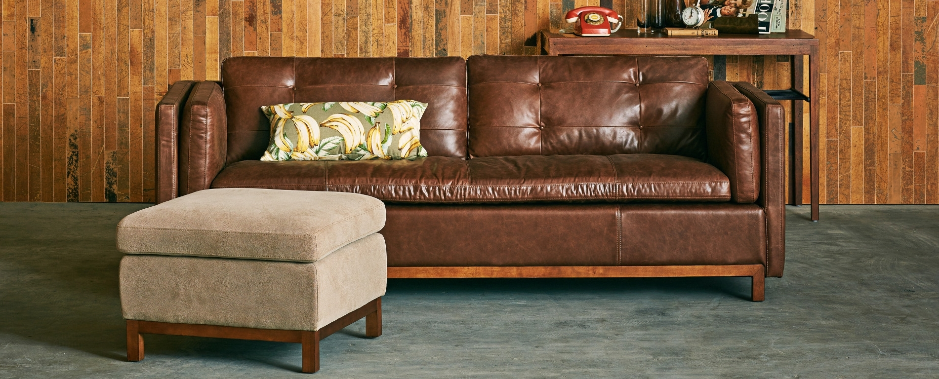 "Tufted Back Brazilian Leather Sofa – 84"" With Sofas With Back Consoles (View 19 of 20)"