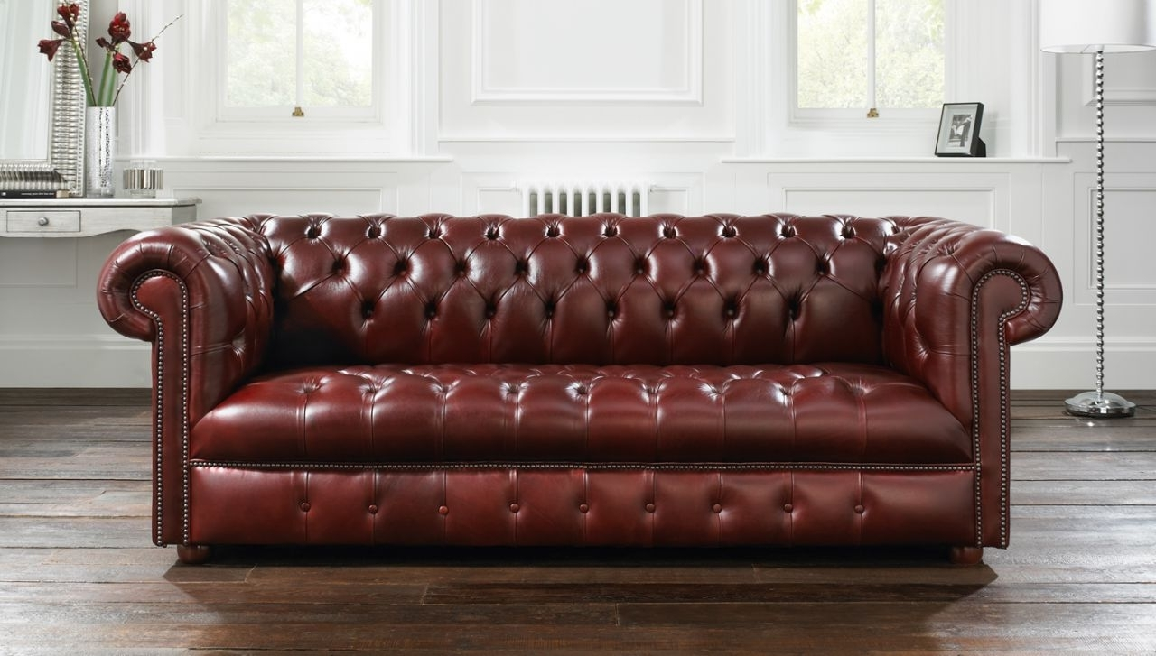 Tufted Leather Chesterfield Sofas In Newest Brown Leather Tufted Sofa (View 2 of 20)