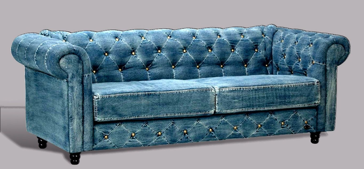Tufted Leather Chesterfield Sofas Intended For Latest Tufted Denim Chesterfield Sofa Transitional Living Room Furniture (View 20 of 20)