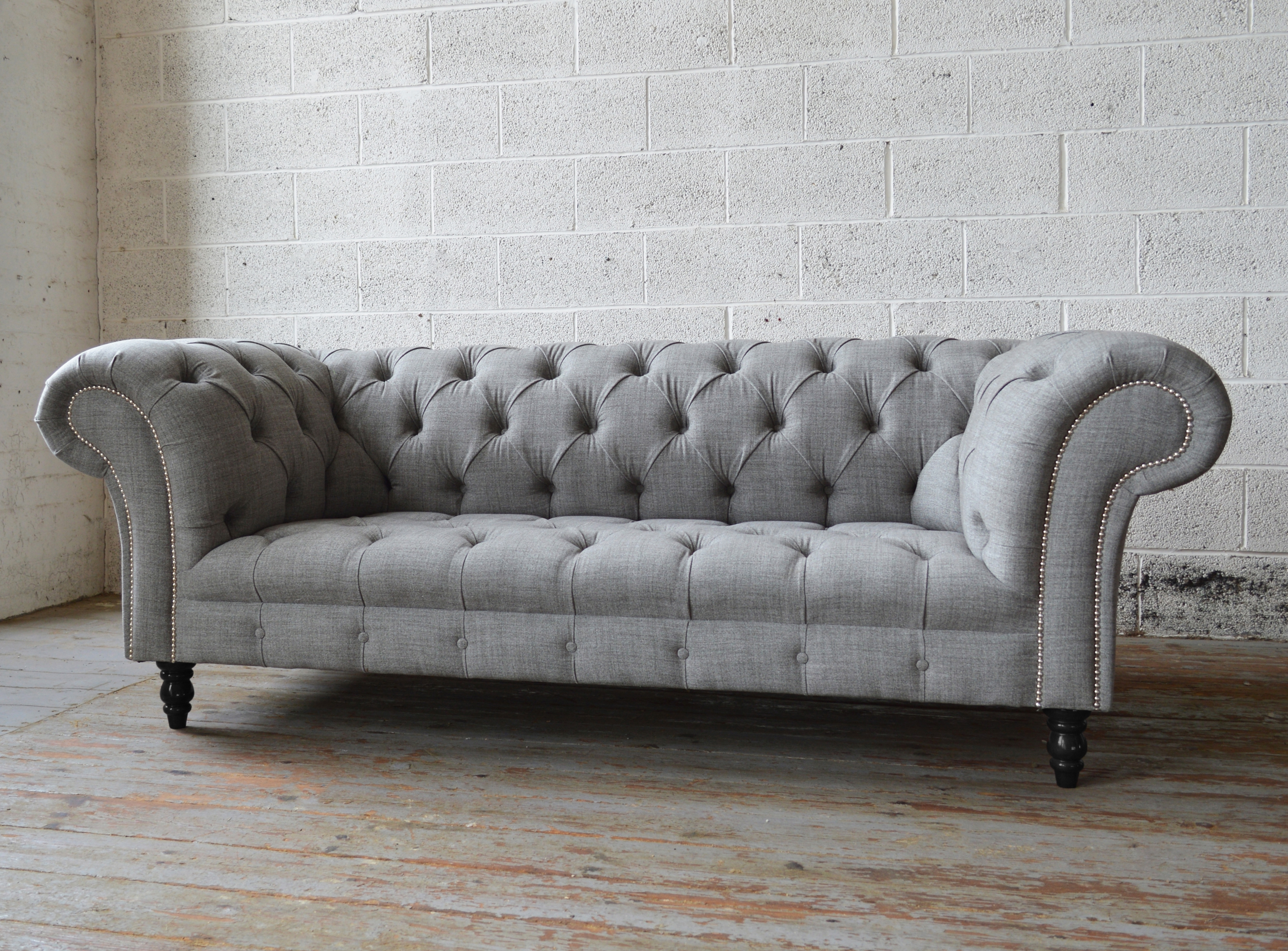 Tufted Leather Chesterfield Sofas Regarding Most Popular Sofas Amazing Grey Leather Chesterfield Sofa Blue Inside Light (View 11 of 20)