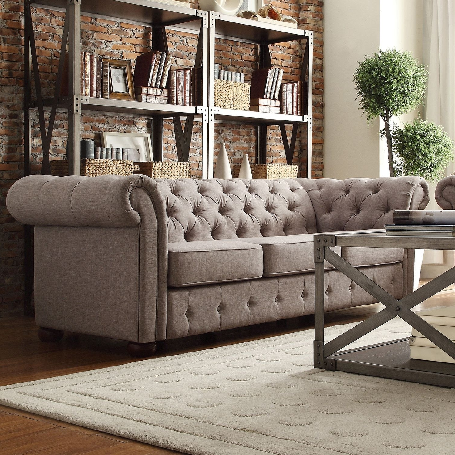 Tufted Linen Sofas Intended For Well Known Kyle Tufted Linen Sofa – Choose Color (Gallery 4 of 20)