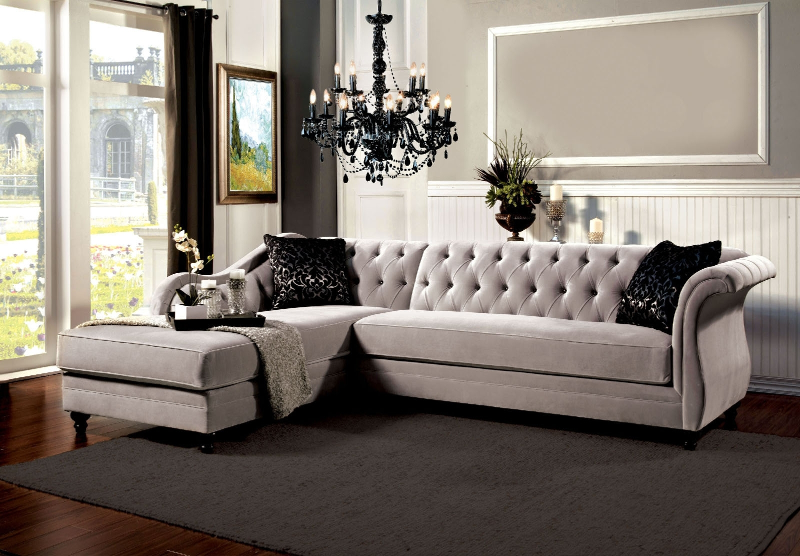 Tufted Sectional Sofas Intended For Trendy Grey Vintage Tufted Sectional Sofa (View 5 of 20)