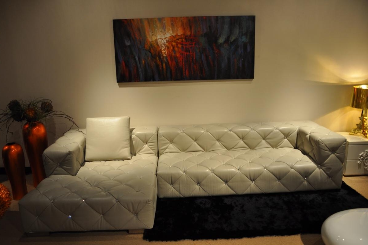 Tufted Sectional Sofas Throughout Most Recently Released White Leather Sectional Sofa With Pillow For Small Living Room (View 19 of 20)
