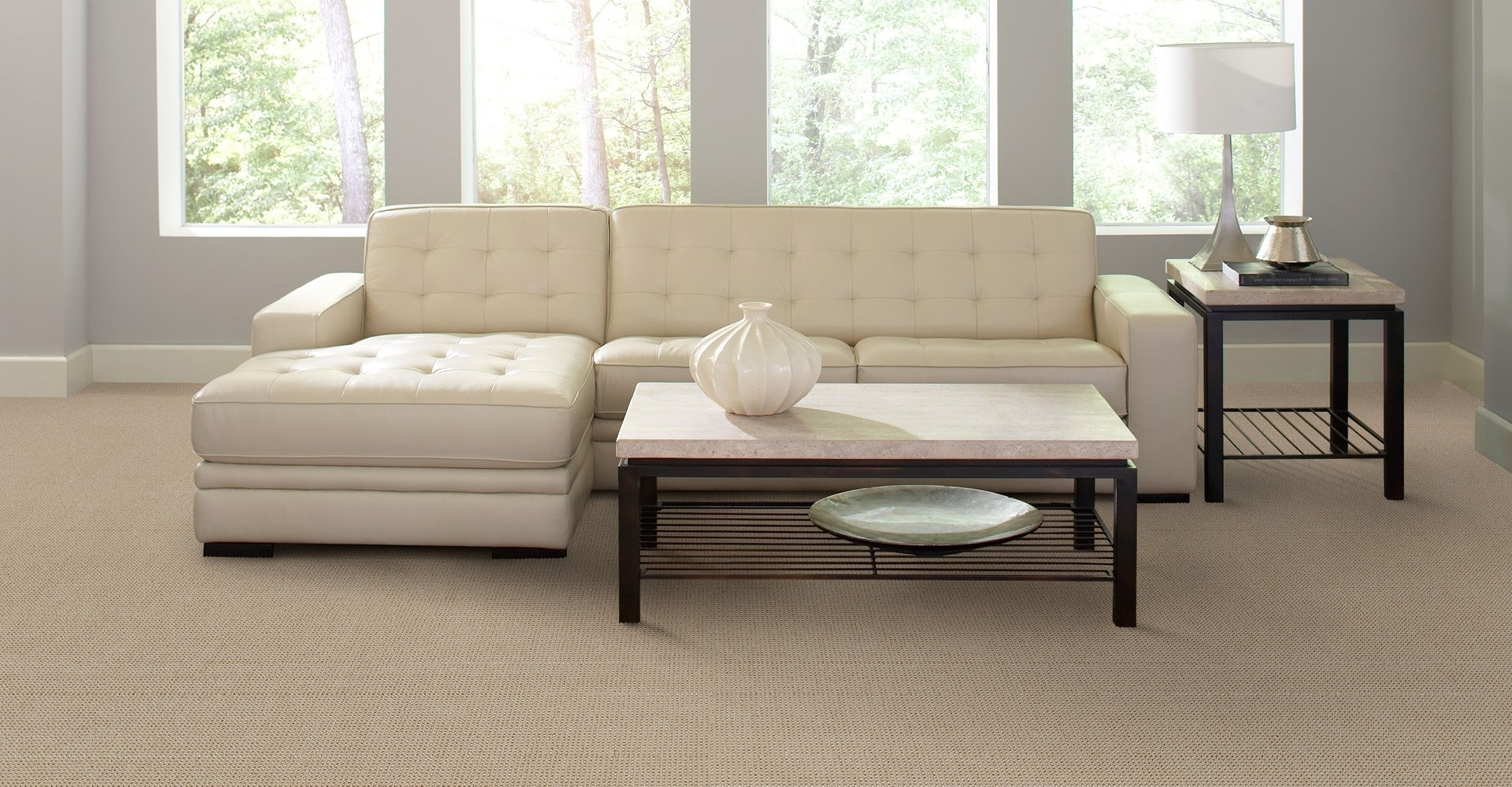 Tufted Sectional Sofas With Chaise Pertaining To 2019 Simple Living Room Decoration With All White Interior Color And (View 12 of 20)