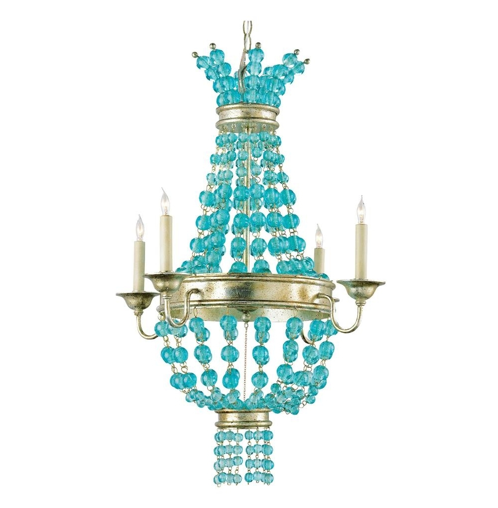 Turquoise Beaded Chandelier Light Fixtures Intended For Well Known Lea Aqua Blue Glass Bead Champagne Leaf 4 Light Chandelier (View 16 of 20)
