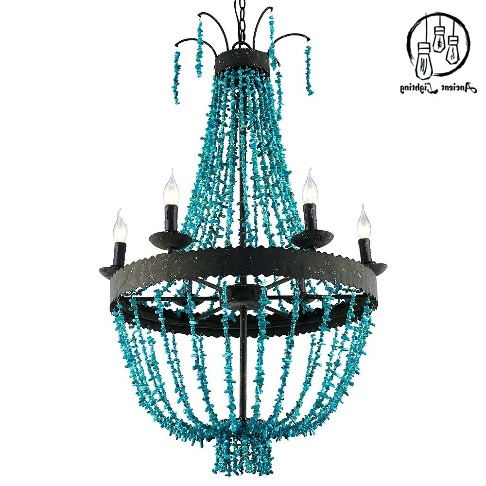 Turquoise Beaded Chandelier Light Fixtures With Regard To Well Known Chandeliers ~ Turquoise Beaded Chandelier Light Turquoise Beaded (View 19 of 20)
