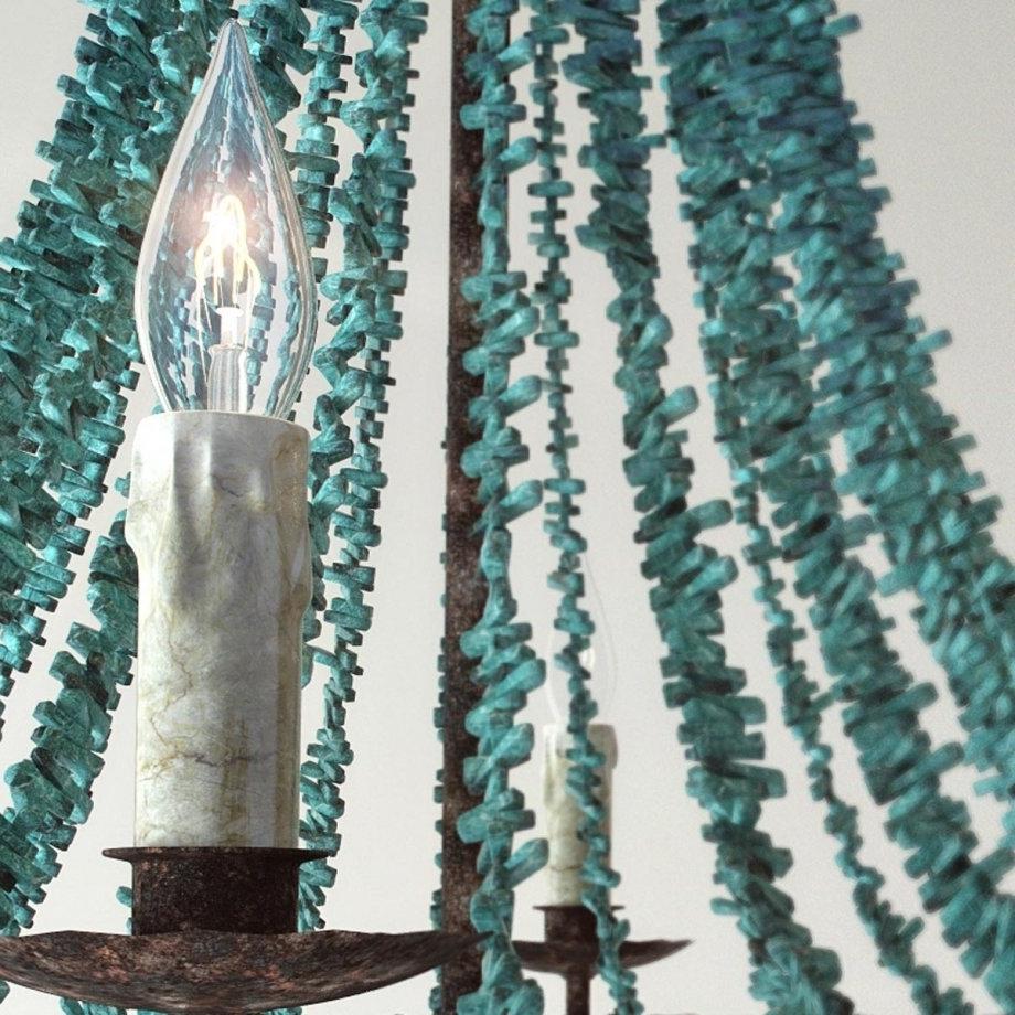 Turquoise Beads Six Light Chandelier 3D Model – Cgstudio In 2019 Turquoise Beads Six Light Chandeliers (View 17 of 20)