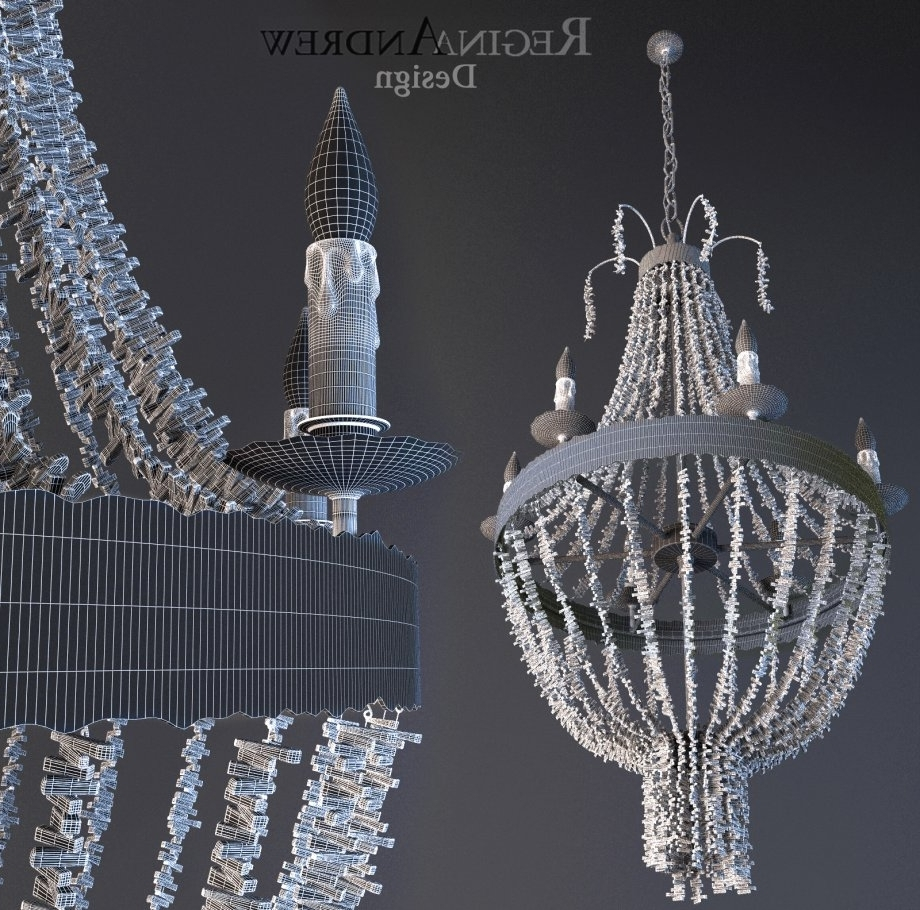 Turquoise Beads Six Light Chandeliers With Regard To Fashionable Turquoise Beads Six Light Chandelier 3D Model – Cgstudio (View 18 of 20)