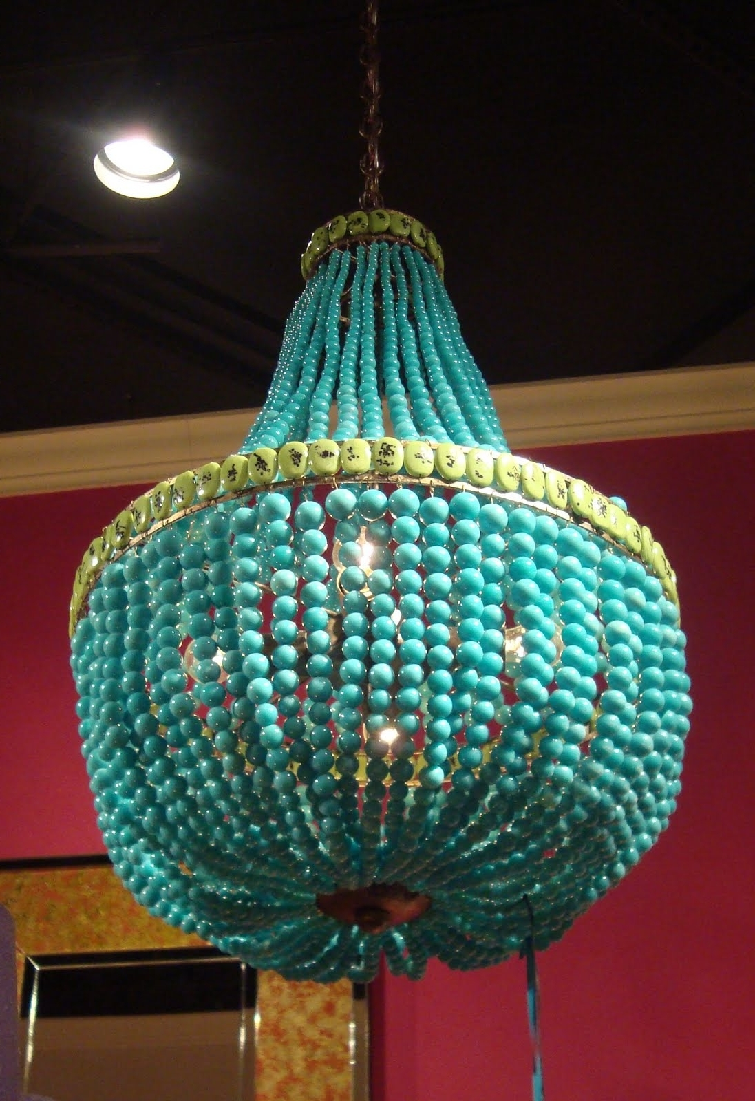 Turquoise Beads Six Light Chandeliers With Regard To Recent Turquoise Chandelier Lighting (View 14 of 20)