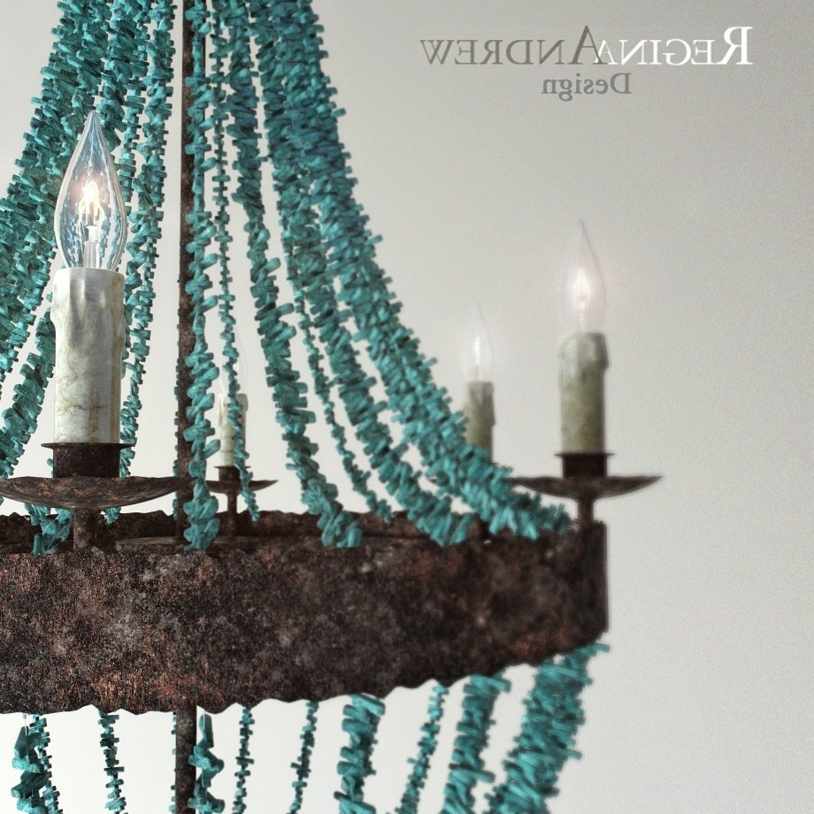 Turquoise Beads Six Light Chandeliers Within Most Recently Released Turquoise Beads Six Light Chandelier 3d Model – Cgstudio (View 12 of 20)