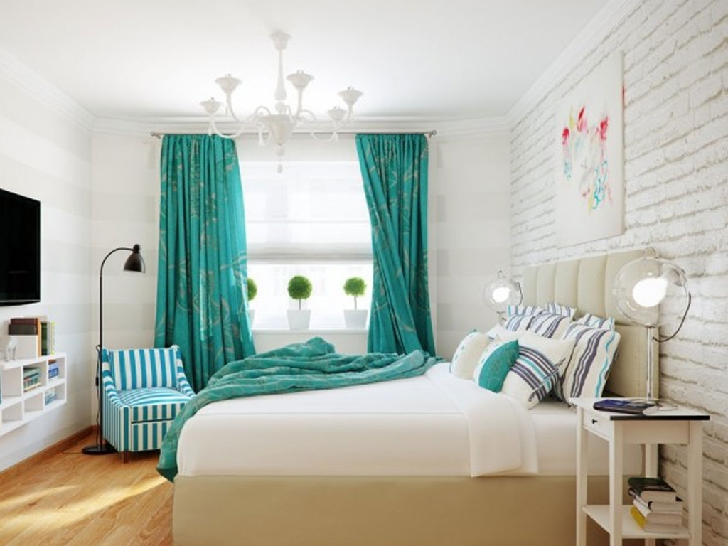 Turquoise Bedroom Chandeliers In Best And Newest Bedroom : Captivating Bedroom Design With Turquoise Floral Curtain (View 5 of 20)