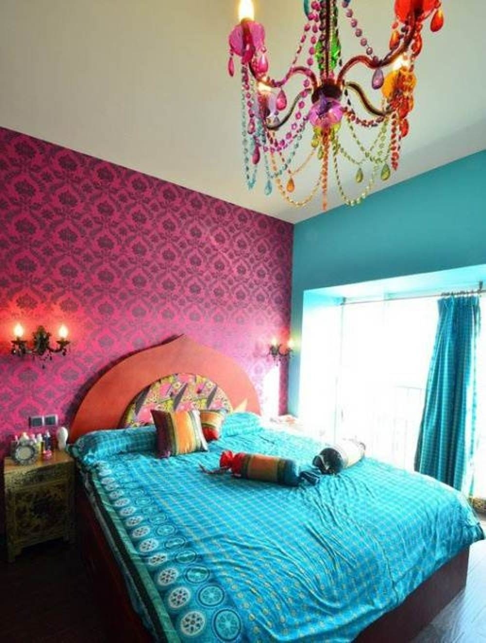 Turquoise Bedroom Chandeliers With Regard To 2019 Wonderful Turquoise Bedroom Curtain For Indian Girls Bedroom Design (View 15 of 20)
