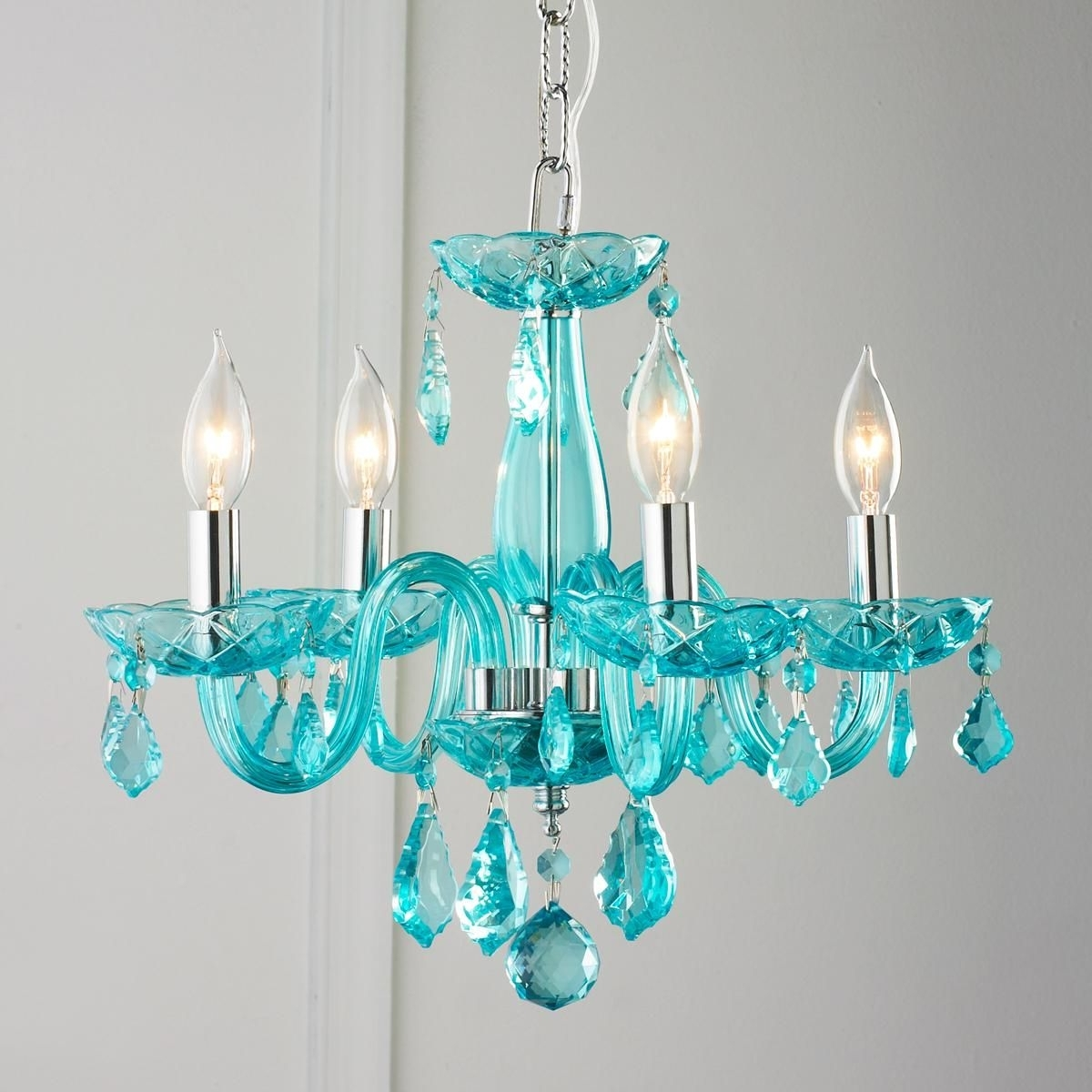 Turquoise Bedroom Chandeliers With Regard To Most Popular Color Crystal Mini Chandelier (View 17 of 20)
