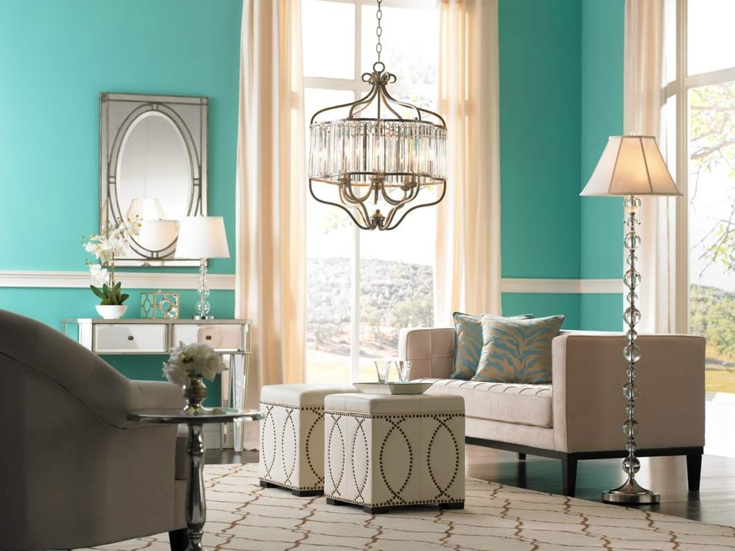Turquoise Bedroom Chandeliers Within Best And Newest Living Room : Modern Chandelier Floor Lamps Turquoise Living Room (View 11 of 20)
