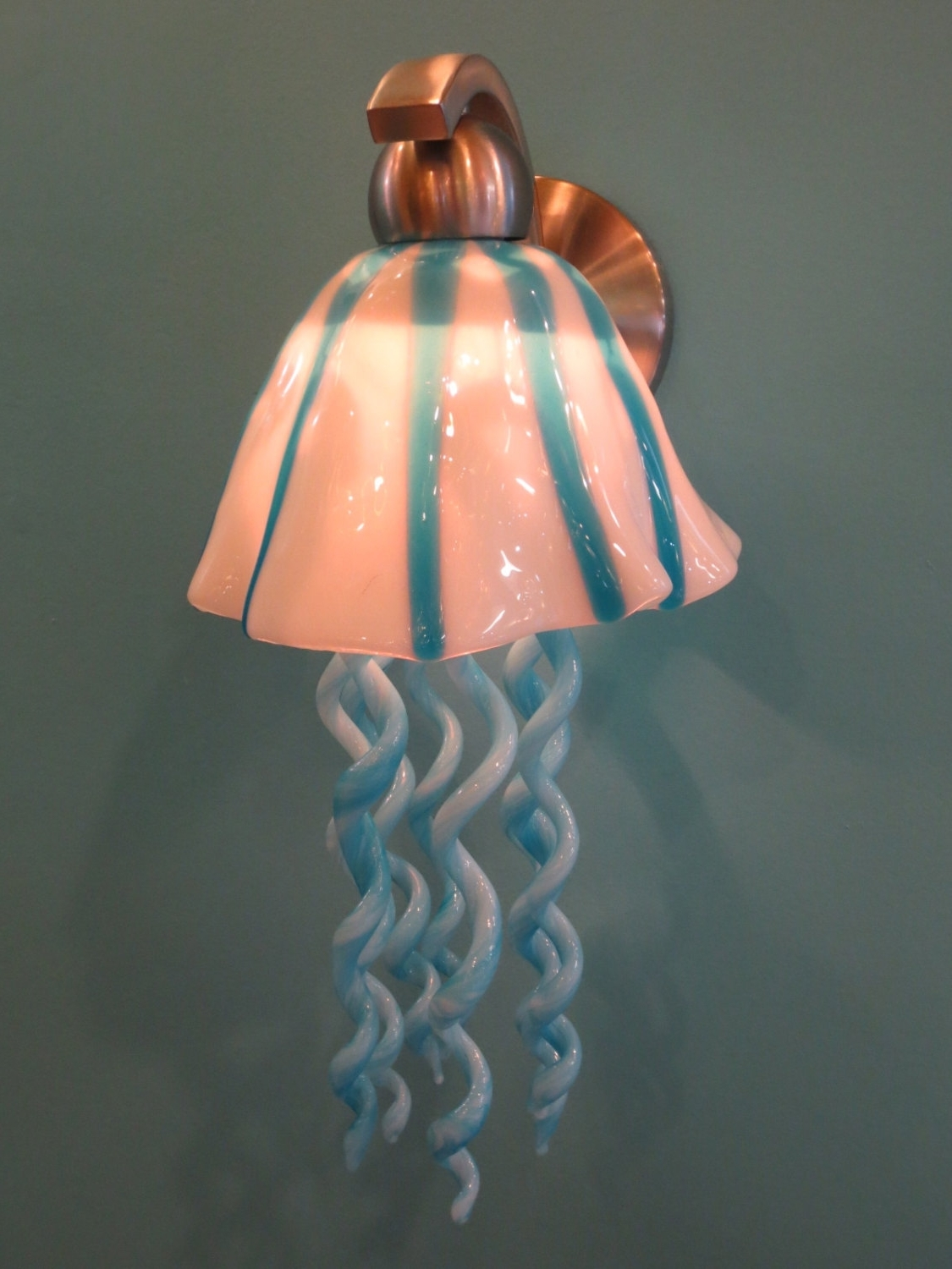 Turquoise Blown Glass Chandeliers For Newest Blown Glass Lighting – Glass Lighting – Jellyfish Sconce – Turquoise (View 11 of 20)
