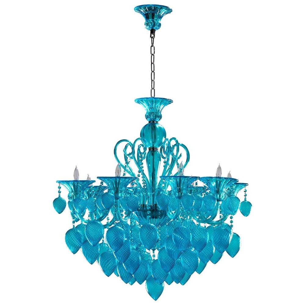 Turquoise Blue Glass Chandeliers Inside Most Recent Bella Vetro Light Blue Aqua Murano Glass 8 Light Ornament Chandelier (View 18 of 20)