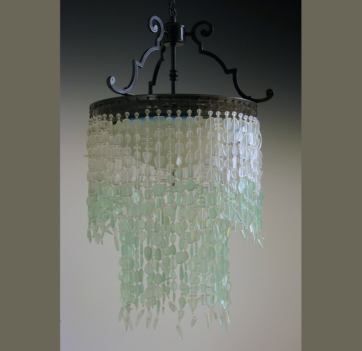 Turquoise Blue Glass Chandeliers Throughout Famous Chandeliers : Sea Glass Chandelier Awesome Chandelier Turquoise Blue (View 11 of 20)
