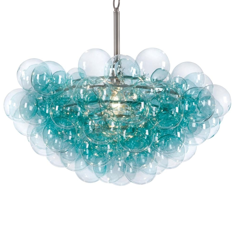 Turquoise Chandelier Lights Inside Trendy Light : Sima Modern Floating Glass Bubbles Aqua Chandelier Bubble (View 7 of 20)