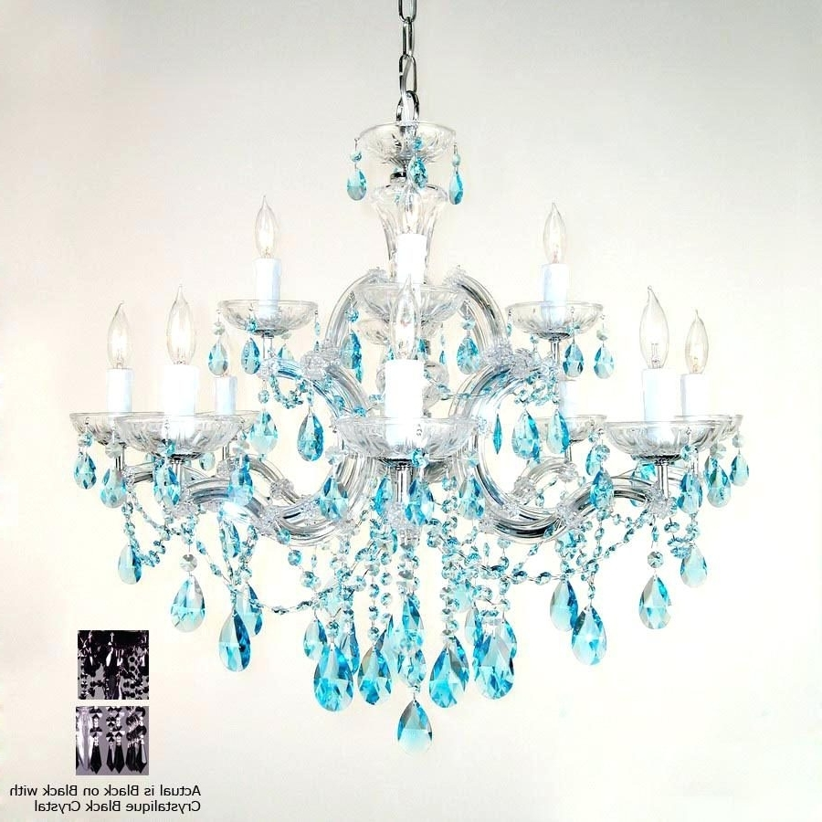 Turquoise Chandelier Lights Pertaining To Popular Chandelier : Turquoise Chandelier Crystals Classic Lighting Light (View 3 of 20)