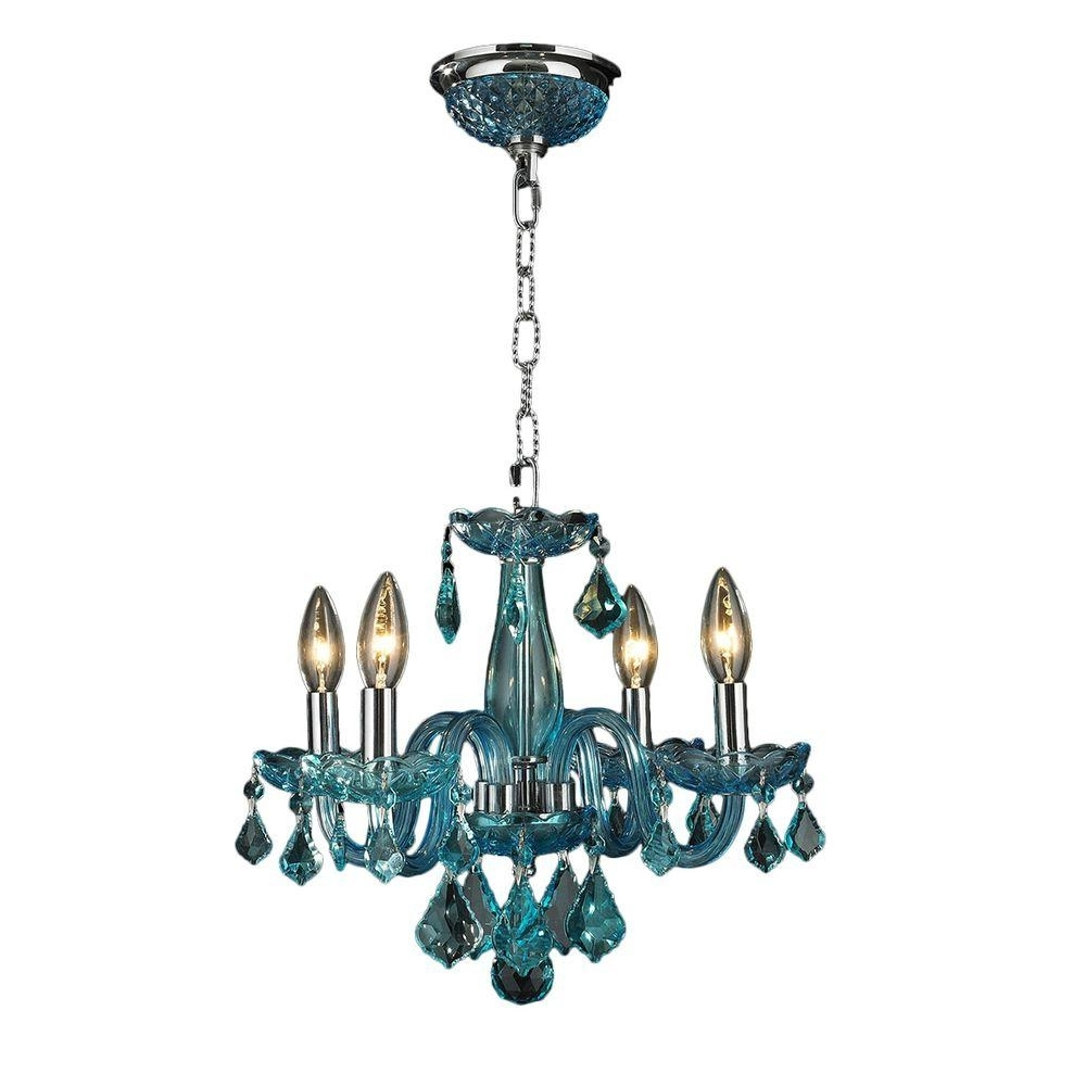 Turquoise Crystal Chandelier Lights Inside Well Known Worldwide Lighting Clarion 4 Light Chrome Crystal Chandelier N – The (View 12 of 20)