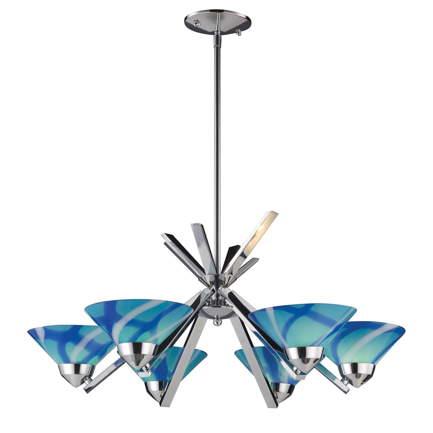 Turquoise Glass Chandelier Lighting Pertaining To Widely Used Elk 1475 6car Refraction 6 Light Chandelier In Polished Chrome With (View 2 of 20)