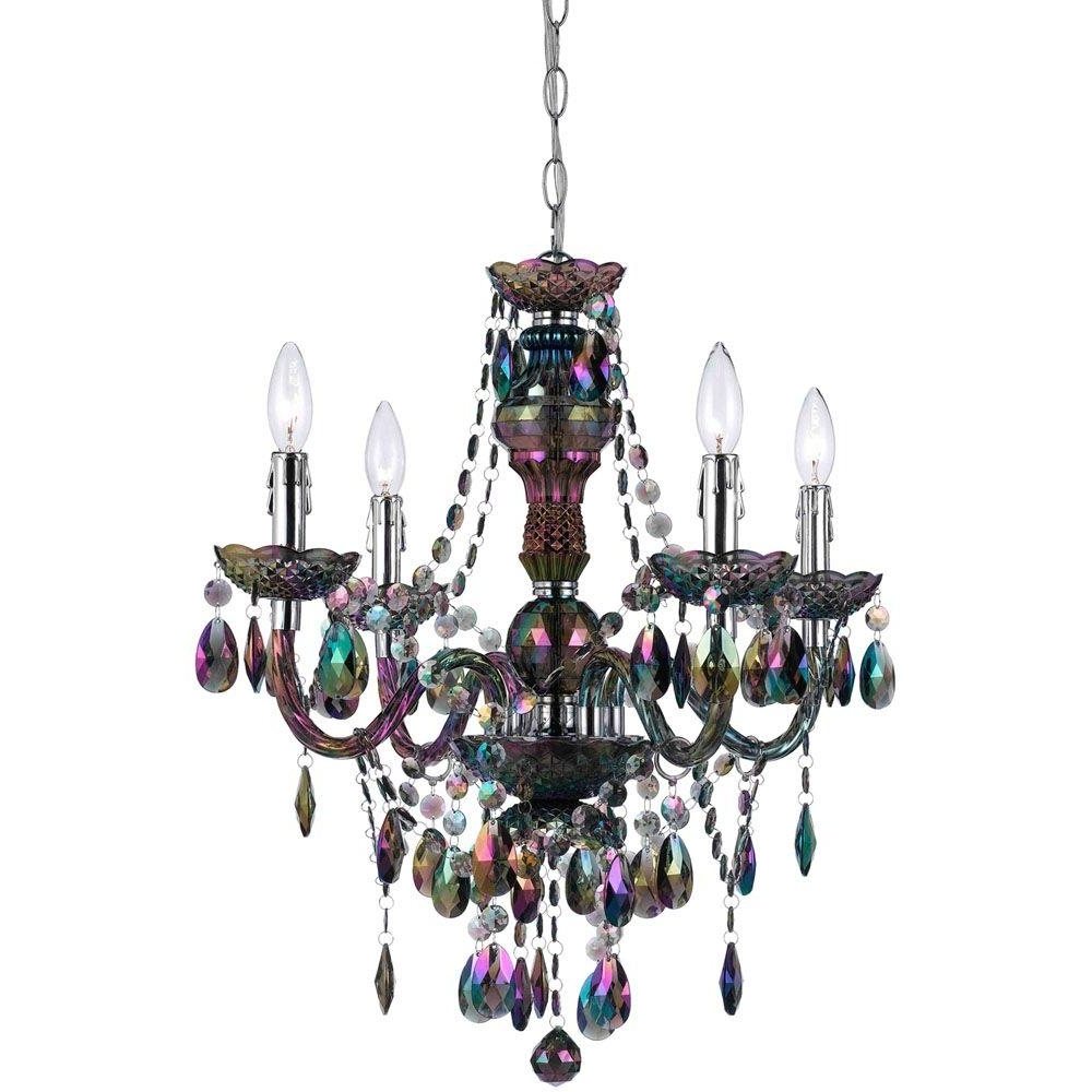 Turquoise Mini Chandeliers With Best And Newest Af Lighting Naples 4 Light Metallic Mini Chandelier With Iridescent (View 17 of 20)
