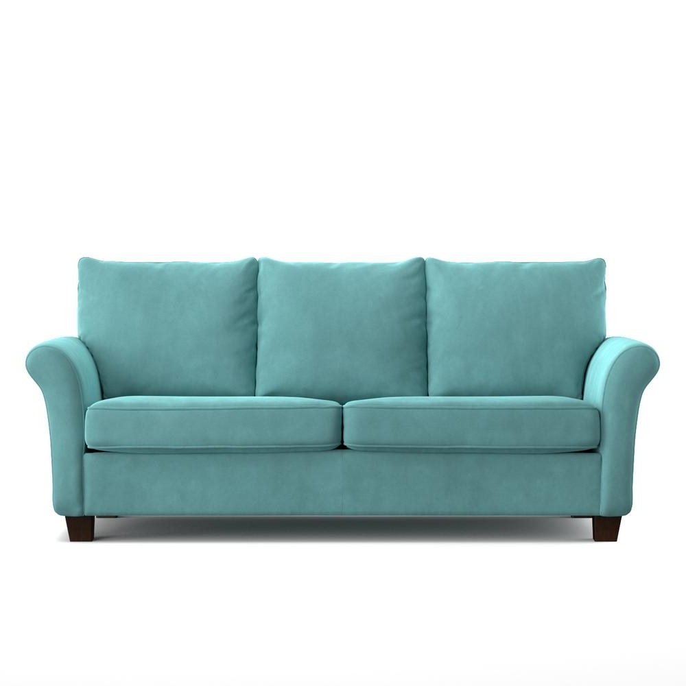 Turquoise Sofas Throughout Latest Handy Living Rockford Sofast Sofa In Blue Turquoise Velvet Rkf Sx (View 17 of 20)