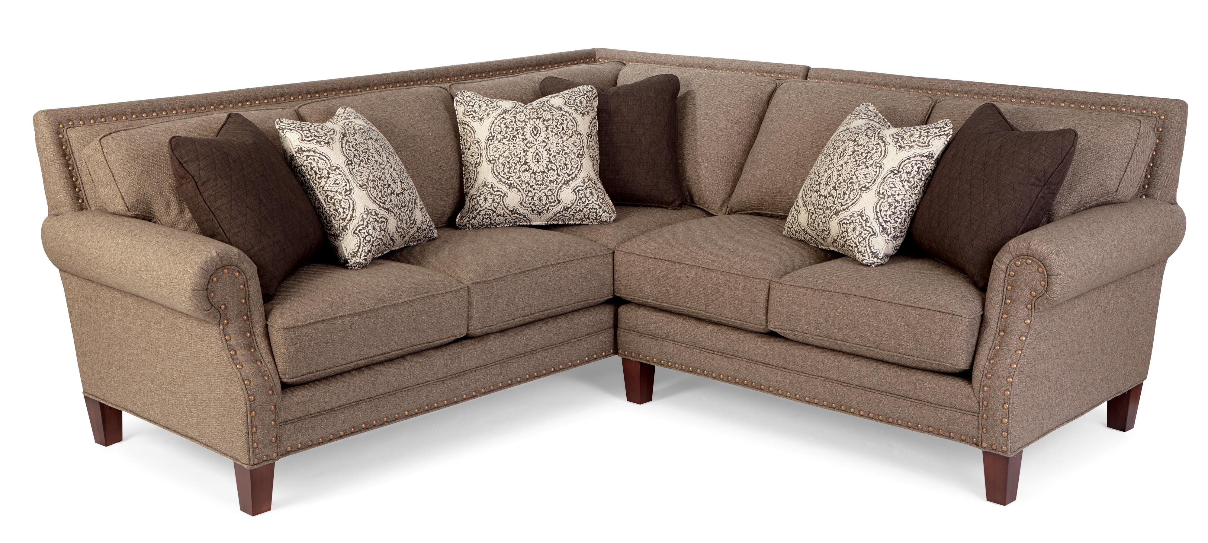 Two Piece Sectional Sofa With Rolled Arms And Light Brass Within Current Sectional Sofas With Nailheads (View 4 of 20)