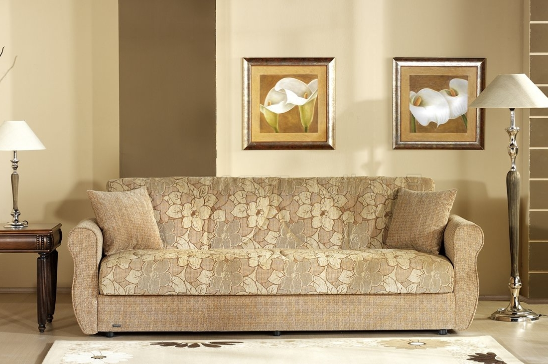 Two Tone Fabric Living Room W/storage Sleeper Sofa With Regard To Well Known Two Tone Sofas (View 16 of 20)