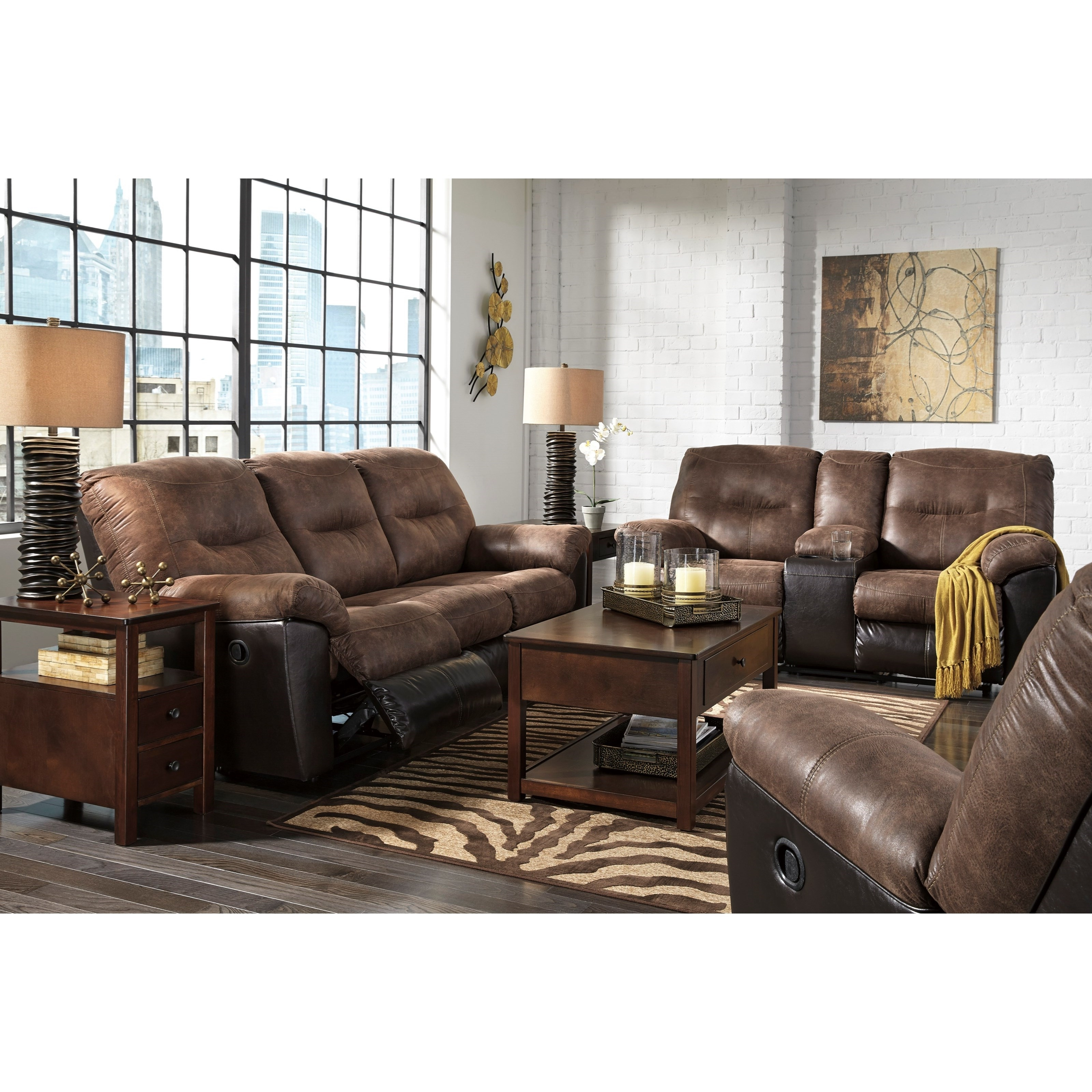 Two Tone Faux Leather Reclining Sofasignature Designashley Pertaining To Fashionable Two Tone Sofas (View 18 of 20)