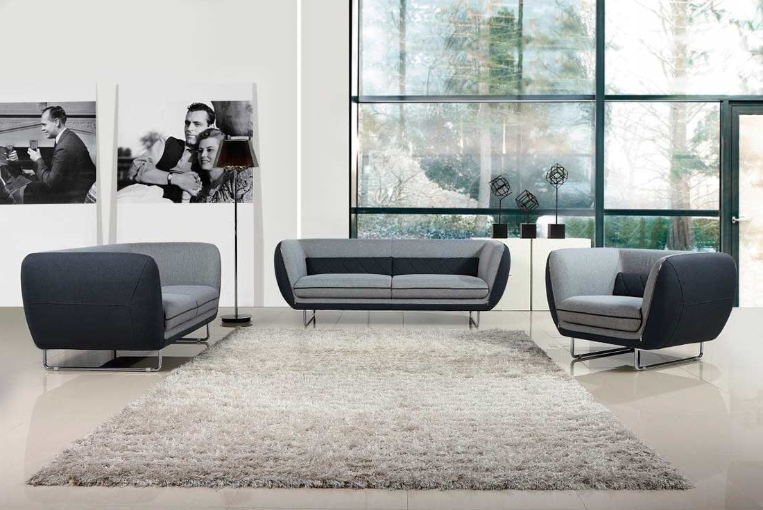 Two Tone Sofas Throughout Most Up To Date Modern Grey Two Tone Fabric Sofa Set Vg (View 3 of 20)