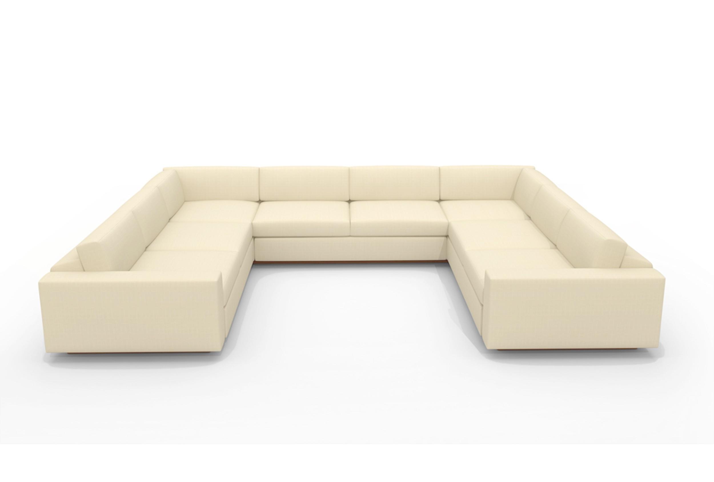 U Shaped White Leather Sectional Sofa With Back And Arm Of With Regard To Fashionable Modern U Shaped Sectional Sofas (View 15 of 20)