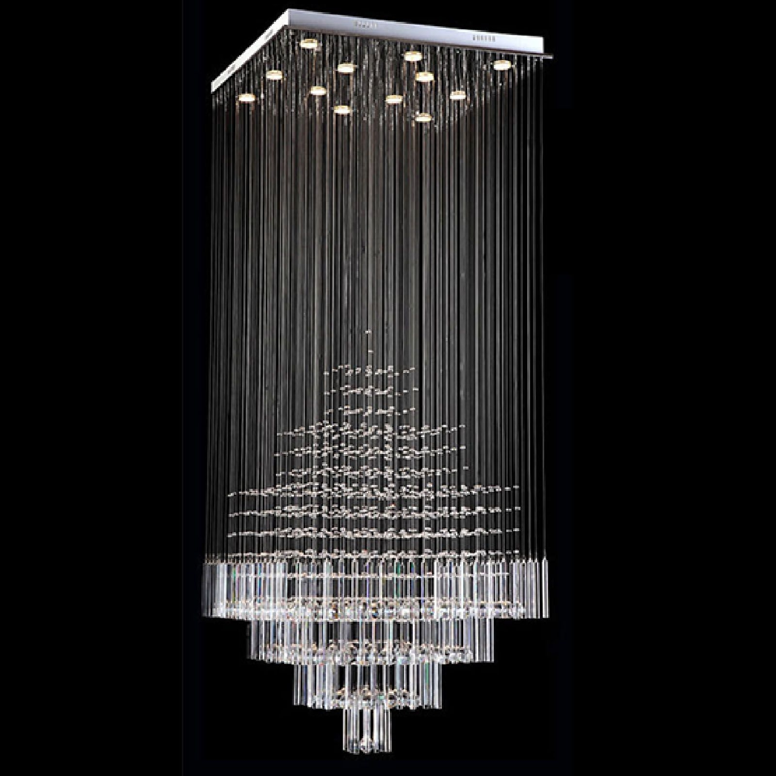 Ultra Modern Chandelier Pertaining To Popular Byb® Modern Chandelier Rain Drop Lighting Square Crystal Ball (View 9 of 20)