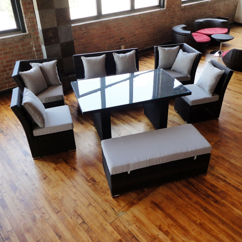 Unique Dining Set To Sectional Sofa Now Available In Black Wicker Intended For Fashionable Jamaica Sectional Sofas (Gallery 9 of 20)