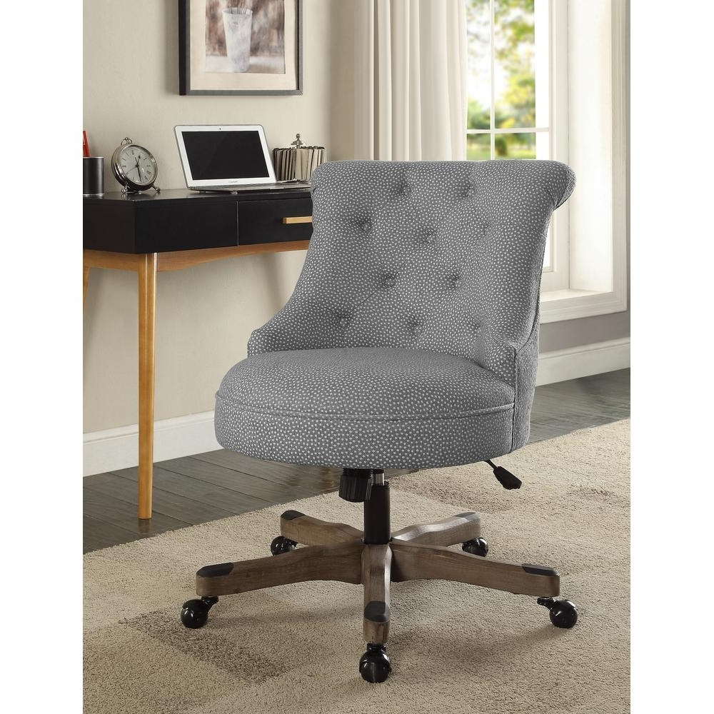 Upholstered Executive Office Chairs With Recent Linon Home Decor Sinclair Light Gray And White Dots Upholstered (View 5 of 20)