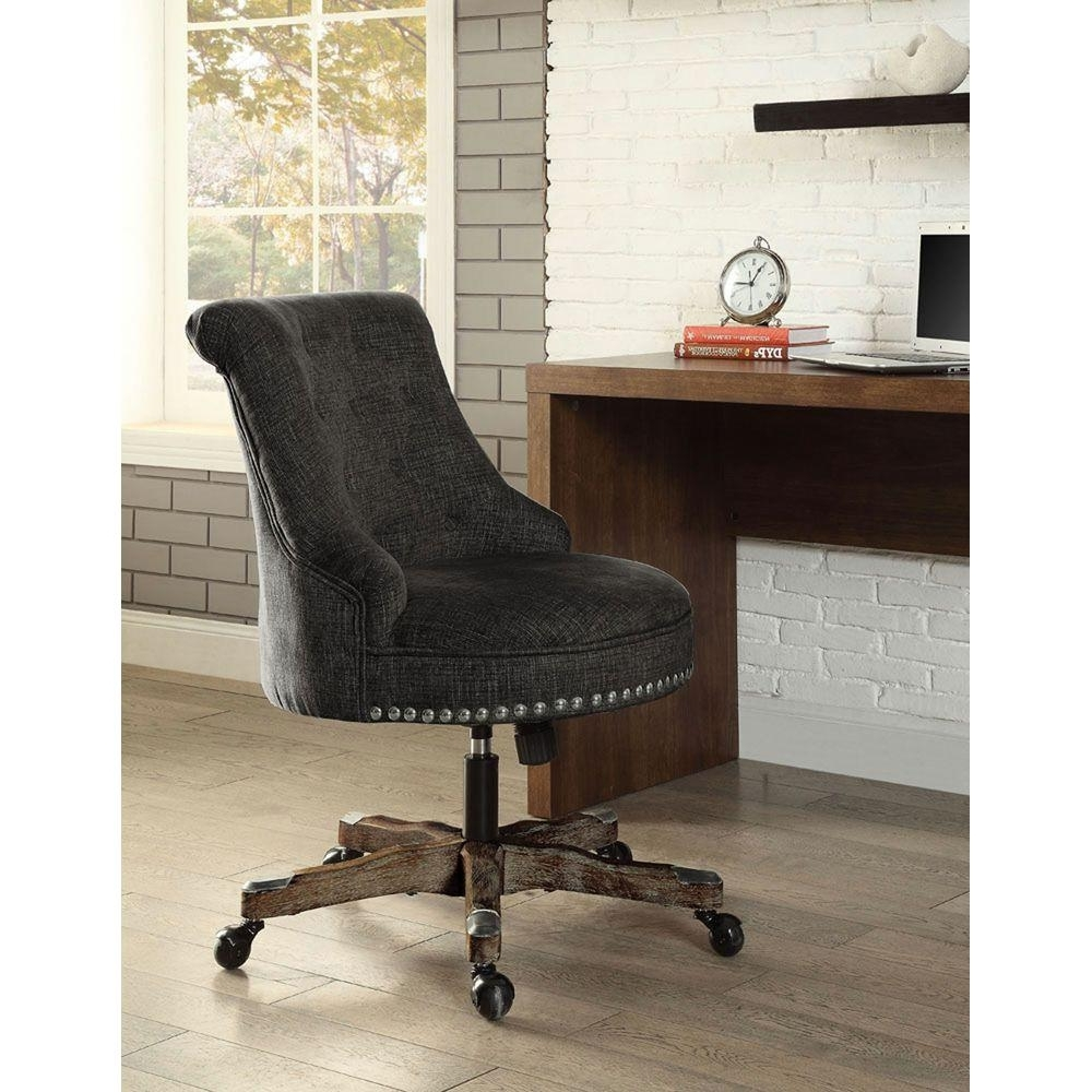 Upholstered Executive Office Chairs With Regard To 2019 Linon Home Decor Sinclair Gray Polyester Office Chair (View 18 of 20)
