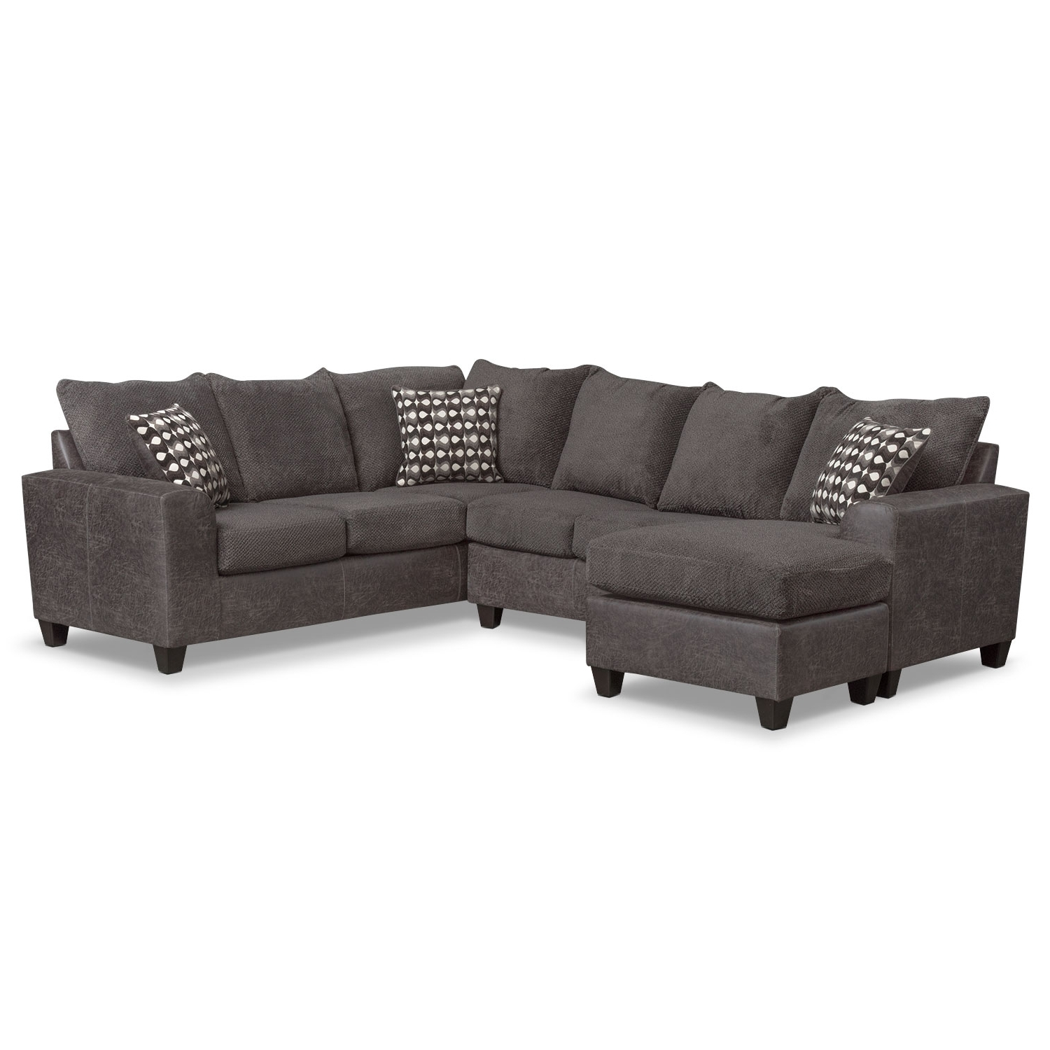 Value City Sectional Sofas For Famous Brando 3 Piece Sectional With Chaise And Swivel Chair Set – Smoke (View 7 of 20)