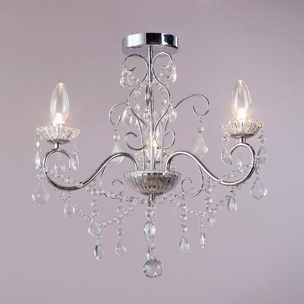 Vara 3 Light Bathroom Chandelier – Chrome From Litecraft Inside Famous Small Chrome Chandelier (Gallery 2 of 20)