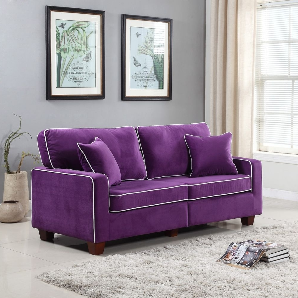 Velvet Purple Sofas For Best And Newest Modern Two Tone Purple Velvet Fabric Living Room Love Seat Sofa (View 17 of 20)