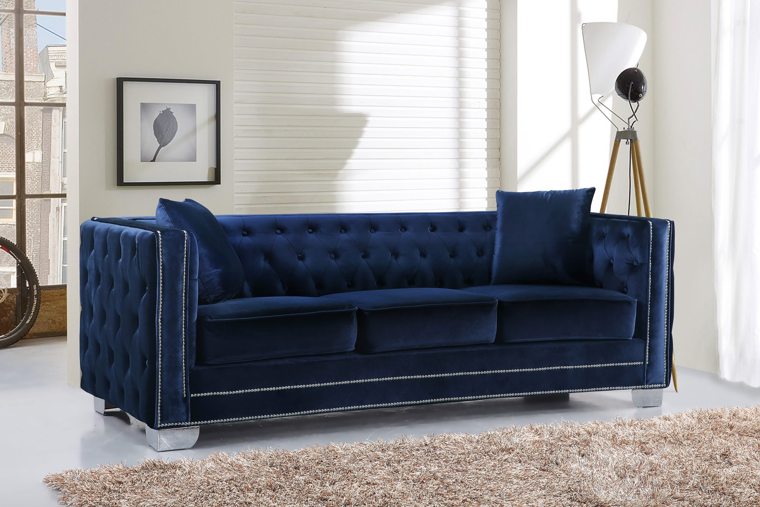 Velvet Sofas For Current Reese Velvet Sofa, Navy Buy Online At Best Price – Sohomod (View 12 of 20)