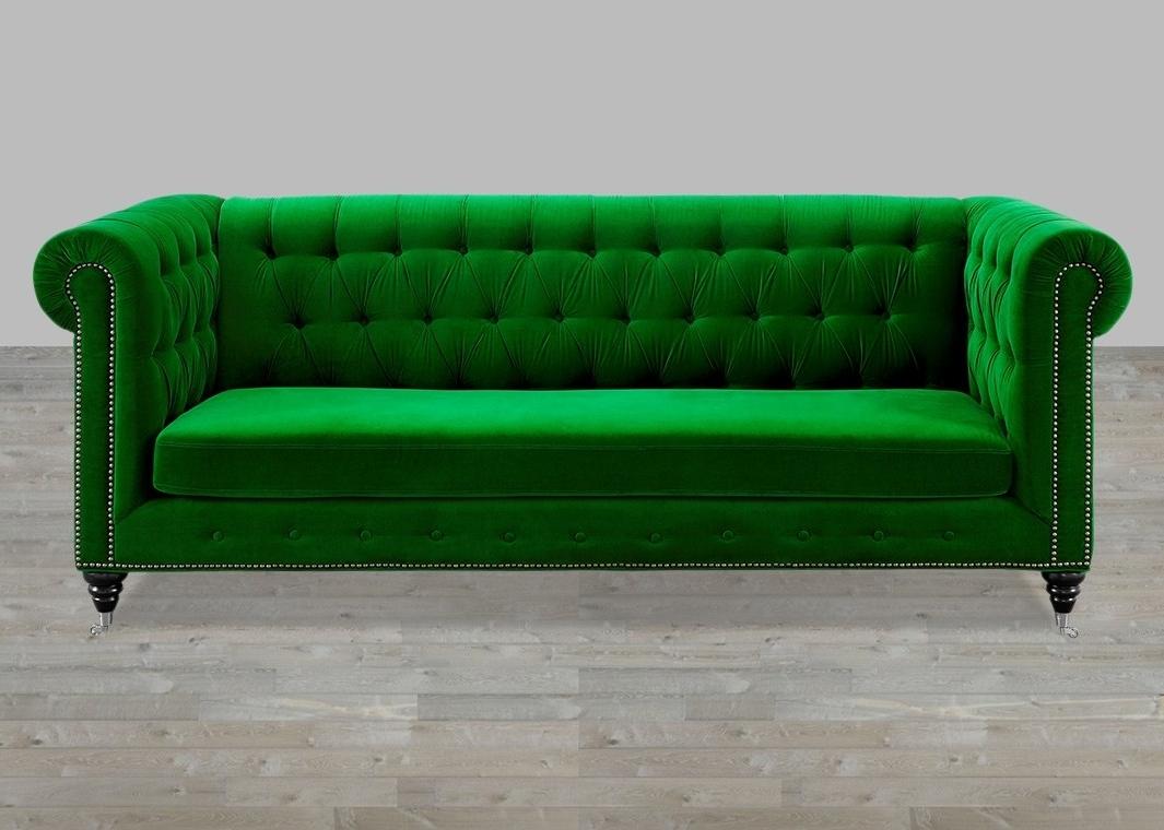 Velvet Sofas Throughout Well Liked Velvet Sofa Button Tufted (View 15 of 20)