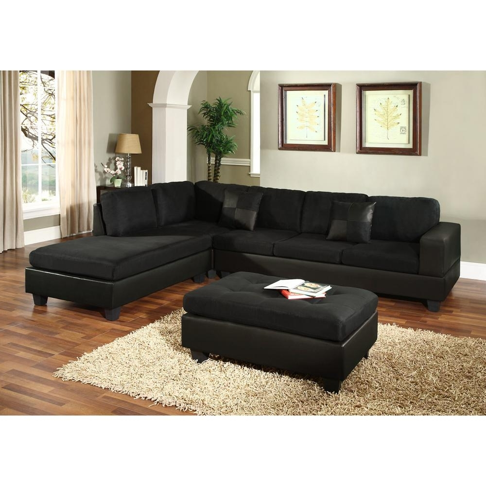 Venetian Worldwide Dallin Black Microfiber Sectional Mfs0005 R Inside Current Black Sectional Sofas (View 17 of 20)