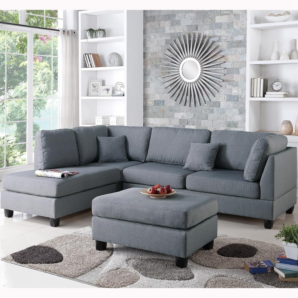 Venetian Worldwide Madrid 3 Piece Reversible Sectional Sofa In With Famous Sectional Sofas With Ottoman (Gallery 4 of 20)