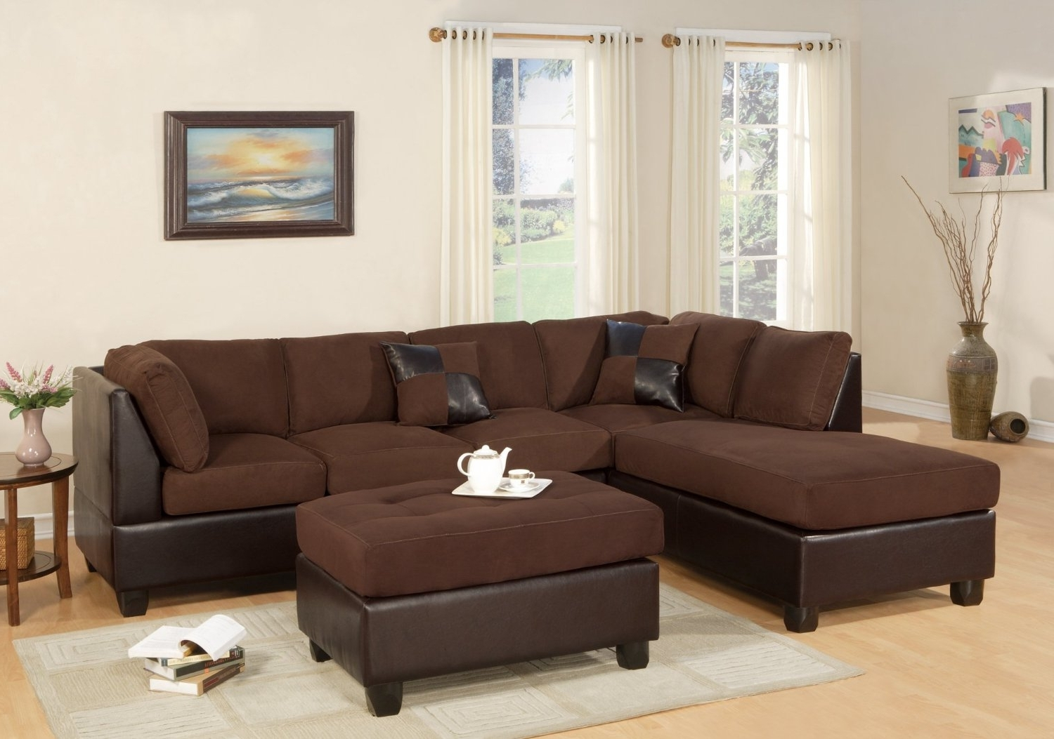 Ventura County Sectional Sofas Throughout Favorite Amazon – Bobkona Hungtinton Microfiber/faux Leather 3 Piece (View 13 of 20)